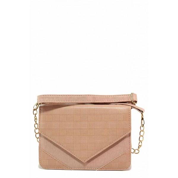 Дмаска чанта, релефна кожа, ''кариран'' принт / Съни 690-5 пудра / MES.BG