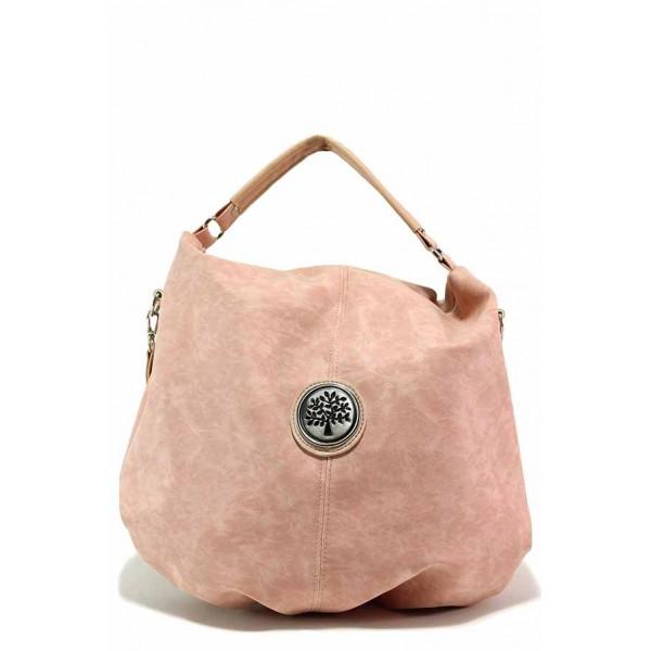 Дамска чанта тип торба, удобно вътрешно разпределение / Съни 453-51 пудра / MES.BG
