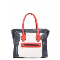Дамска ежедневна чанта в трицветна цветова комбинация / Съни 316 бял-син / MES.BG