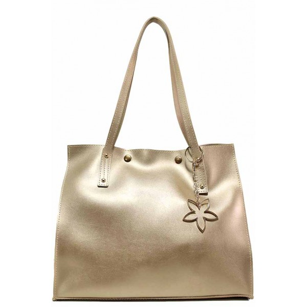 Дамска ежедневна чанта с органайзер и метална висулка - цвете / Съни 688-5 златен / MES.BG