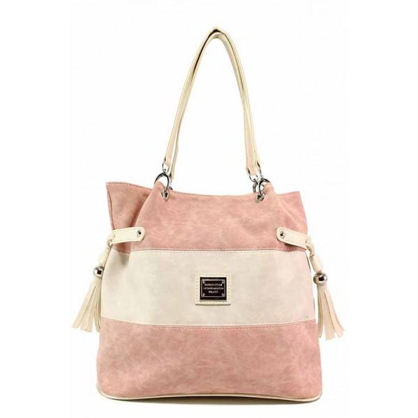 Дамска ежедневна чанта в двуцветна комбинация / Съни 565 розов мейс / MES.BG