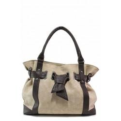 Българска дамска чанта, изработена от еко-кожа мейс / Съни 1012-Б бежов-кафяв / MES.BG