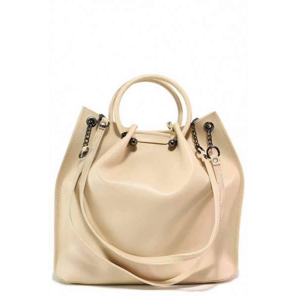 Кожена дамска чанта, два вида дръжки, органайзер, дълга дръжка / Съни 712-5 бежов / MES.BG