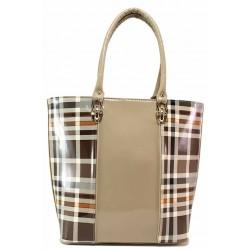Дамска чанта, лак, еко-кожа, класическа / Съни 503-5 кафяв / MES.BG