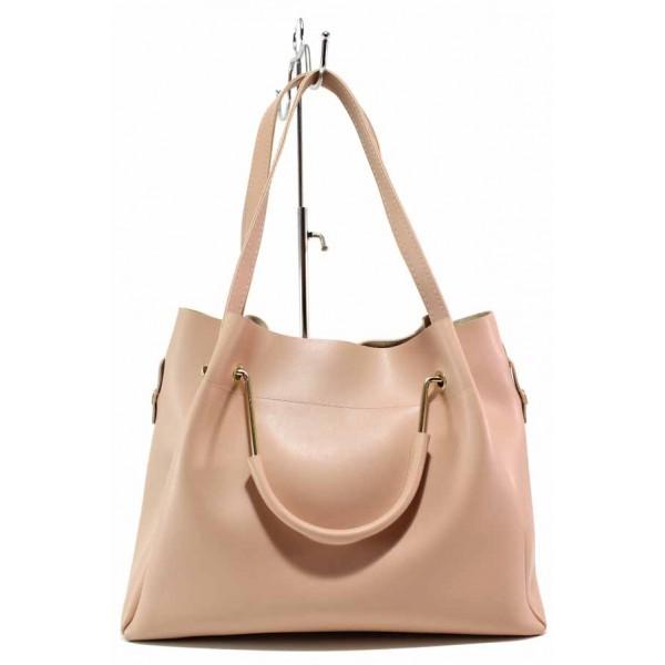 Дамска чанта тип торба, еко-кожа, органайзер, българска / Съни 632-5 пепел от рози / MES.BG