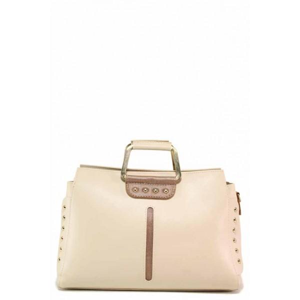 Малка дамска чанта, еко-кожа, ефектни дръжки, дълга дръжка / Съни 672-5 бежов / MES.BG