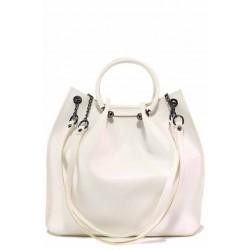Дамска чанта с четири дръжки, органайзер и дълга дръжка, еко-кожа / Съни 712-5 бял / MES.BG