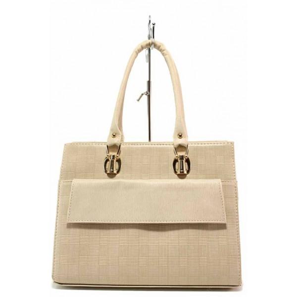 Българска дамска чанта, релефна еко-кожа, тип куфарче, външен джоб / Съни 973-5 бежов / MES.BG