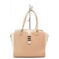 Българска дамска чанта, еко-кожа, органайзер от кроко кожа, дълга дръжка / Съни 500-5 розов-бял / MES.BG