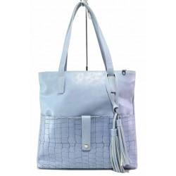 Класическа дамска чанта, еко-кожа с кроко мотив, външен джоб / Съни 999-4 син / MES.BG