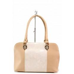 Дамска чанта, еко-кожа, българска, класическа, двуцветна / Съни 778 розов-бежов / MES.BG