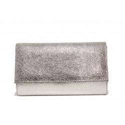 Дамска вечерна чанта тип плик на доказан български производител / Съни 7000-60 сребро / MES.BG