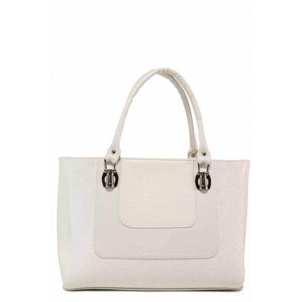 Българска дамска чанта със стилна визия / Съни 333 бял / MES.BG