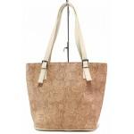 Стилна дамска чанта с релефна кожа, имитираща дантела / Съни 1040 пудра / MES.BG