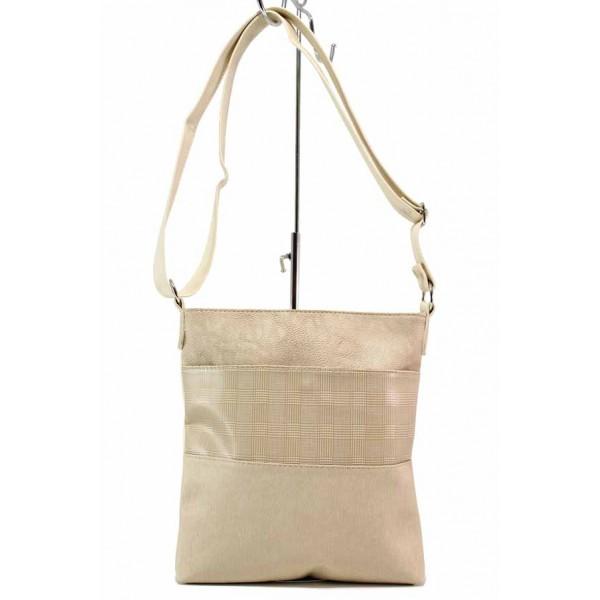Дамска ежедневна чанта с външен джоб / Съни 661-5 бежов / MES.BG