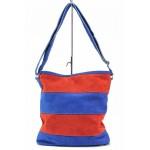 Дамска ежедневна чанта в двуцветна комбинация / Съни 38 син-червен / MES.BG