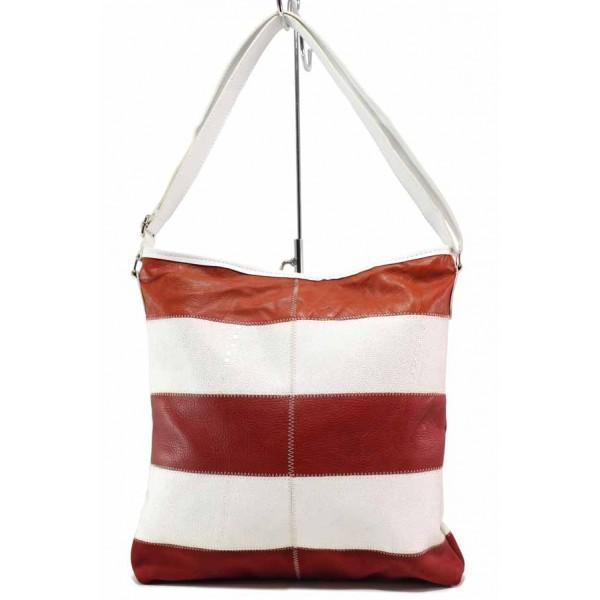 Дамска ежедневна чанта в двуцветна комбинация / Съни 22 бял-червен / MES.BG