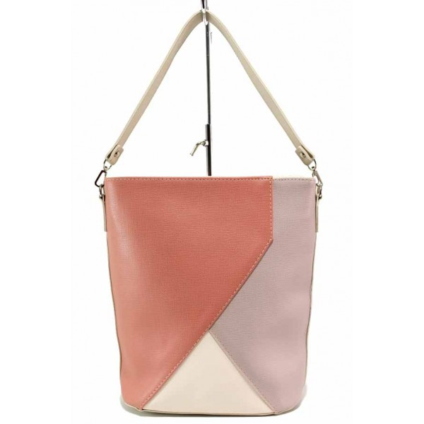 Дамска ежедневна чанта с дълга дръжка, комбинация от три цвята / Съни 721-5 бежов-червен / MES.BG