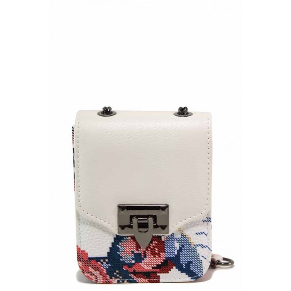 Компактна дамска чанта с флорален мотив / Съни 733-5 бял цветя / MES.BG