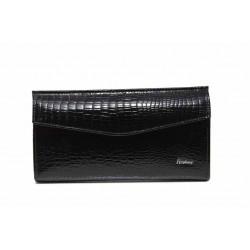 Дамско портмоне от естествена кожа с ''кроко'' мотив / Съни 6067 черен / MES.BG