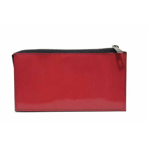 Дамско портмоне от естествена кожа, закопчаване-цип / Съни 73-4 червен / MES.BG