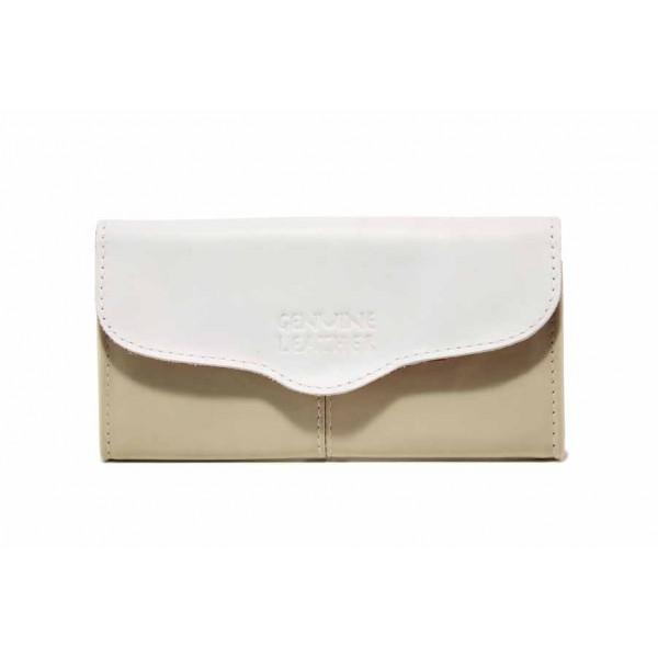 Дамско портмоне от естествена кожа с удобно закопчаване / Съни 633 бежов-бял / MES.BG