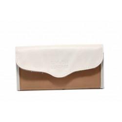 Дамско портмоне от естествена кожа с удобно закопчаване / Съни 7000-51 бял-св.кафяв / MES.BG