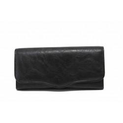 Дамско портмоне от естествена кожа с тик-так закопчаване / Съни 73-1 черен / MES.BG