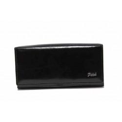 Дамско портмоне от естествена кожа с тик-так закопчаване / Съни 315 черен / MES.BG