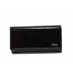 Дамско портмоне от естествена кожа-лак / Съни 73-3 черен / MES.BG