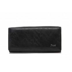 Дамско портмоне от естествена кожа с удобно распределение / Съни 129-3 черен / MES.BG