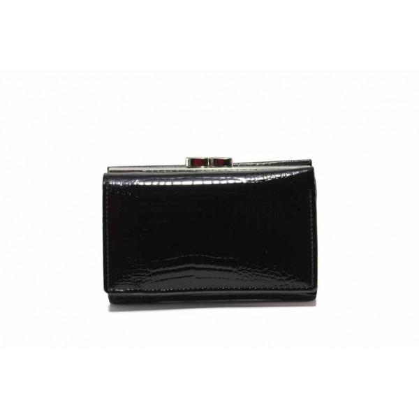 Дамско портмоне от естествена кожа-лак с ''кроко'' мотив / Съни 7000-59 черен / MES.BG