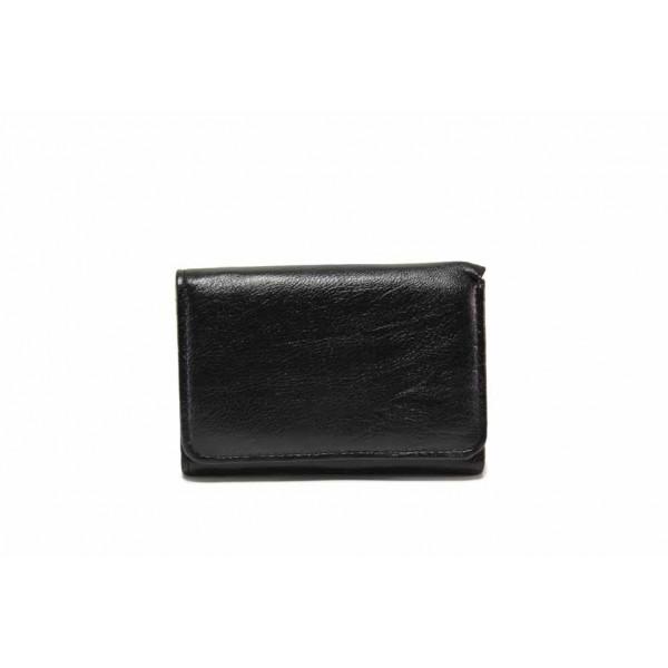 Дамско портмоне от естествена кожа с удобно разпределение / Съни 976 черен / MES.BG