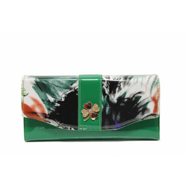 Дамско шарено портмоне с удобно разпределение / Съни 9016 зелен / MES.BG