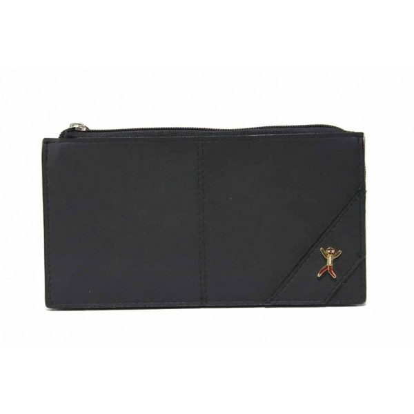 Дамско портмоне с цип и пет прегради / Съни 6019-1 черен / MES.BG