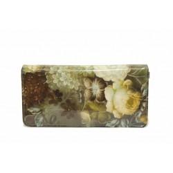 Функционално дамско портмоне с флорален мотив / Съни 6055 бежов цветя / MES.BG