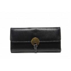 Функционално дамско портмоне с метален акцент / Съни 7000-67 черен / MES.BG
