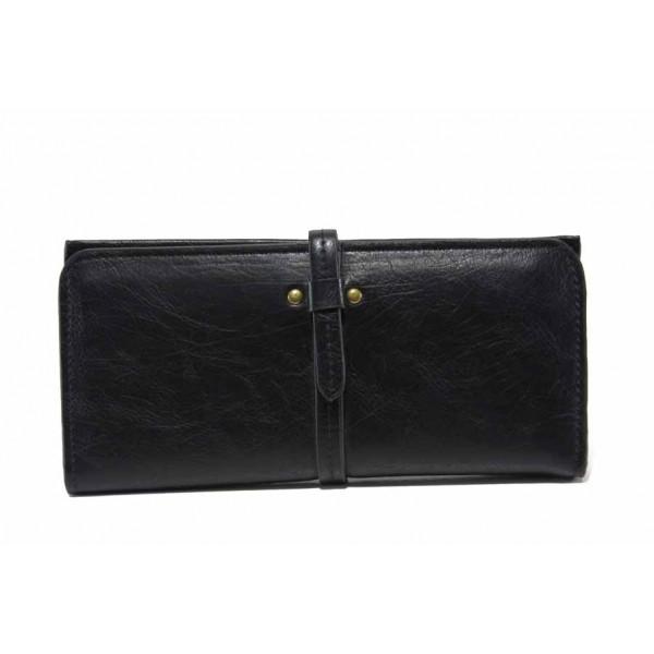 Функционално дамско портмоне с нестандартно закопчаване / Съни 74-01 черен / MES.BG