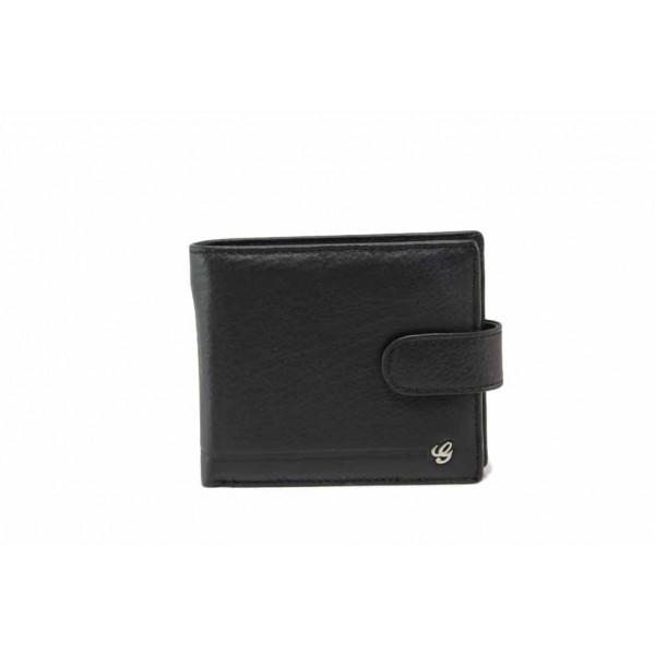 Мъжки портфейл от естествена кожа / Съни 1168 черен / MES.BG