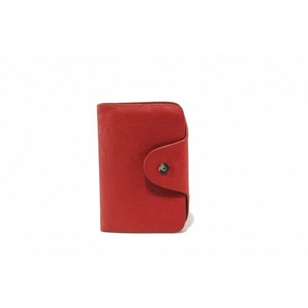 Функционален визитник от естествена кожа / Съни 71-006 червен / MES.BG