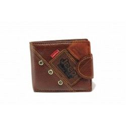 Мъжки портфейл от естествена кожа, удобно разпределение / Съни 0710 кафяв / MES.BG