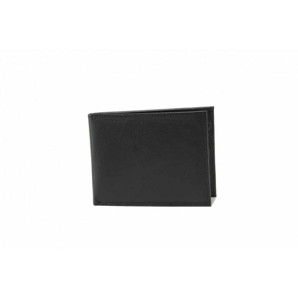 Функционален мъжки портфейл от естествена кожа / Съни 71-004 черен / MES.BG