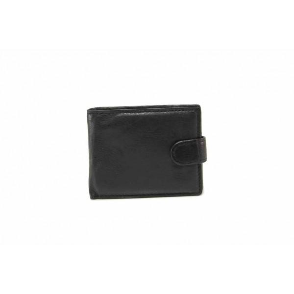Функционален мъжки портфейл от естествена кожа / Съни 71-005 черен / MES.BG