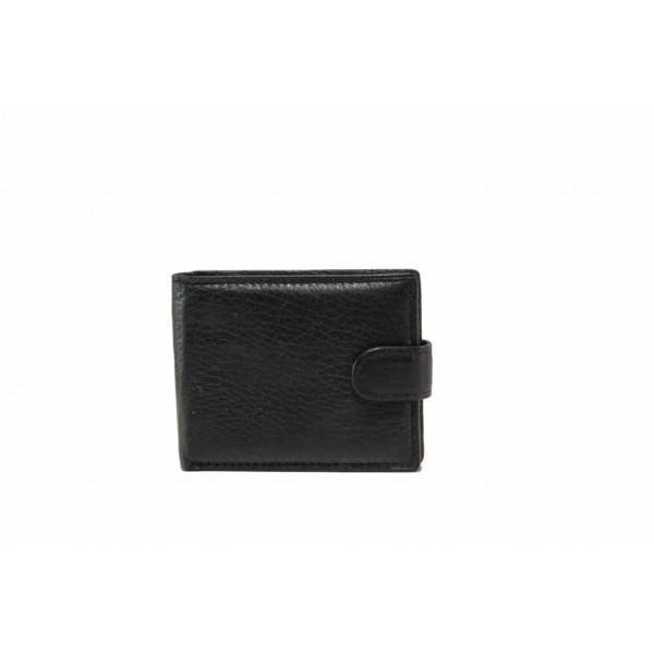 Мъжки портфейл от естествена кожа с допълнителен визитник / Съни 6004-1 черен / MES.BG