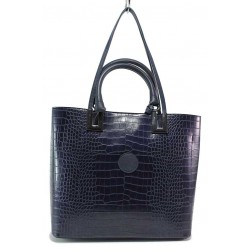Класическа дамска чанта от еко-кожа с кроко мотив / МИ 432 син кроко / MES.BG