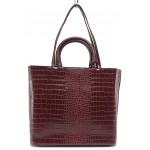 Класически модел дамска чанта, релефна еко-кожа, допълнителна дълга дръжка / МИ 432 бордо кроко / MES.BG
