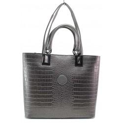 Стилна дамска чанта с практично разпределение, релефна еко-кожа, дълга дръжка / МИ 432 сив кроко / MES.BG