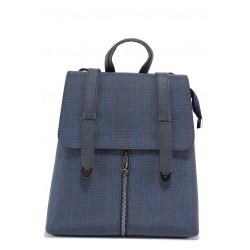 Ежедневна дамска раница с цип и тик-так закопчаване, практичен преден джоб / МИ 201 син каре / MES.BG