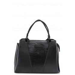 Стилна дамска чанта тип ''куфарче'' с практично разпределени джобове / МИ 686 черен / MES.BG