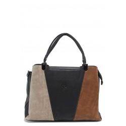 Практична дамска чанта в семпла цветова комбинация / МИ 686 бежов-кафяв / MES.BG